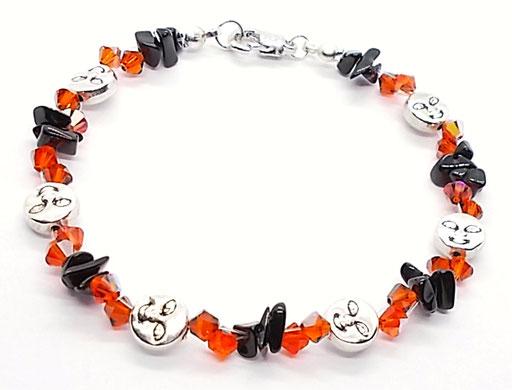 Armband glitzernd schwarz orange silber