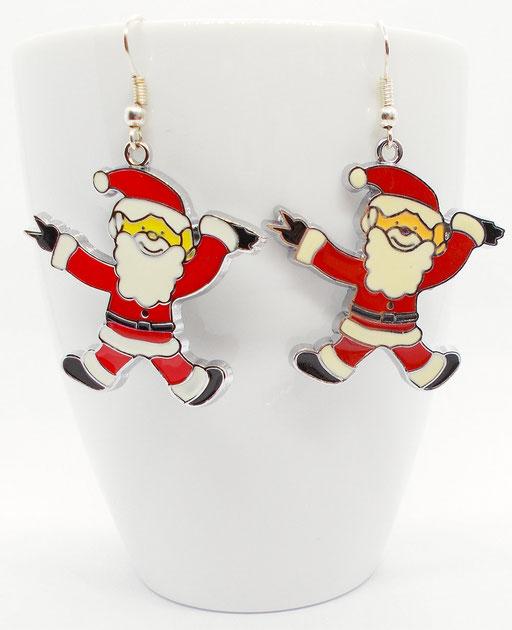 Ohrhänger Weihnachtsmann XL Emaille