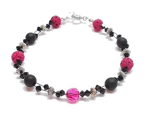 Armband pink schwarz glitzernd