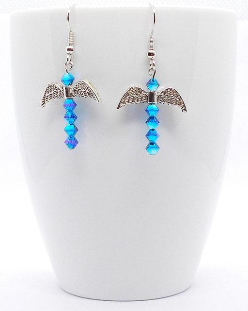Ohrhänger Fledermaus blau glitzernd