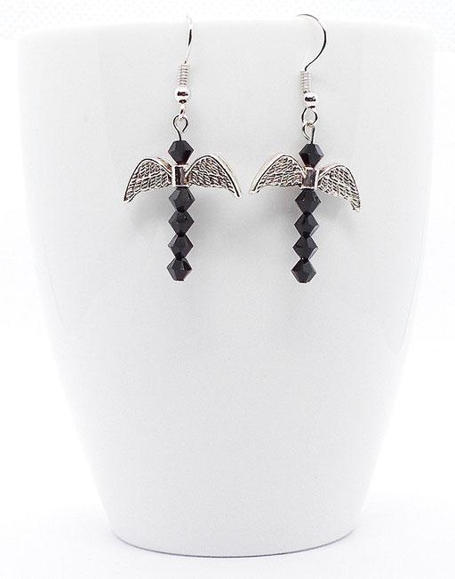 Ohrhänger Fledermaus schwarz glitzernd