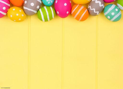 """""""Bunte Eier auf gelbem Hintergrund"""" SKU: 19_28_107"""