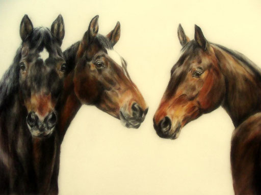 Pferdegruppe, Pastellkreide