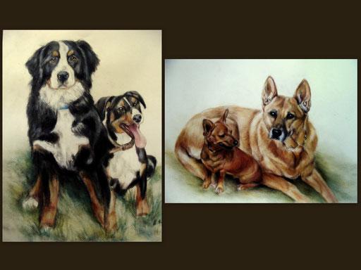 gemalte Hundepärchen