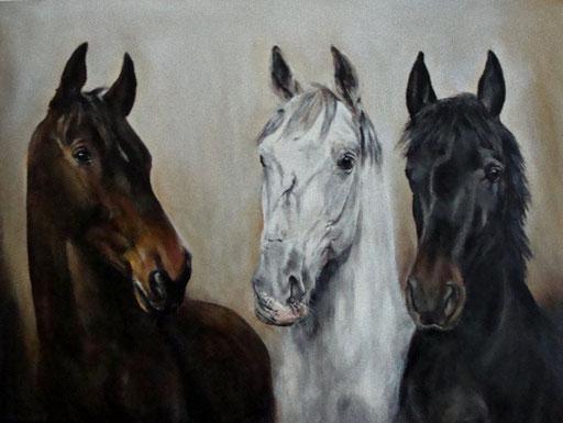 Pferdegruppe, Acryl