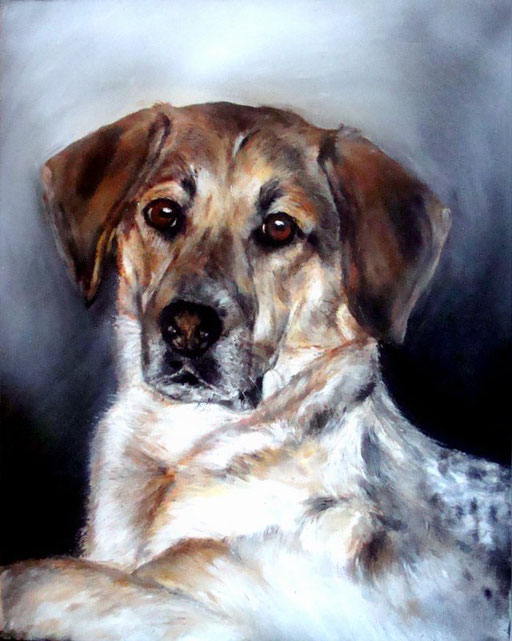 Hund gemalt mit Acryl