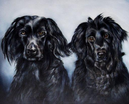 Hundebild, Hunde mit Acryl gemalt