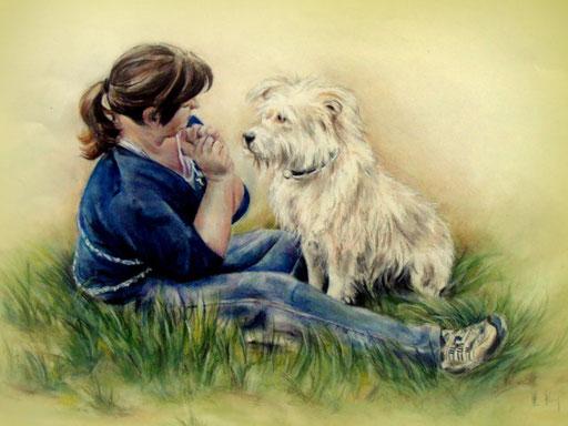 Mädchen mit Hund gezeichnet, Zeichnung Buntstift und Pastellkreide