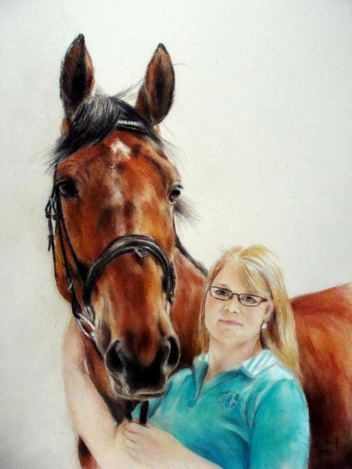 Mensch und Pferd, Pastell