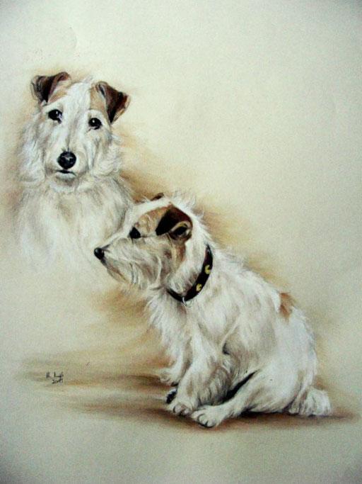 Hundeportrait als Doppelzeichnung