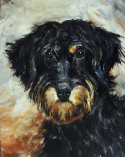 Hund gemalt mit Acryl gemalt