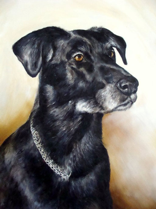 Hund mit Acryl gemalt