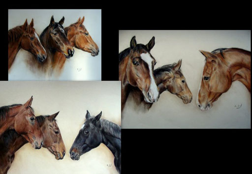 Gruppenportraits mit Pastellkreide gezeichnet