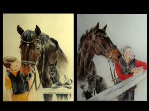 Mensch und Pferd, Collagen mit Pastellkreide und Bleistift
