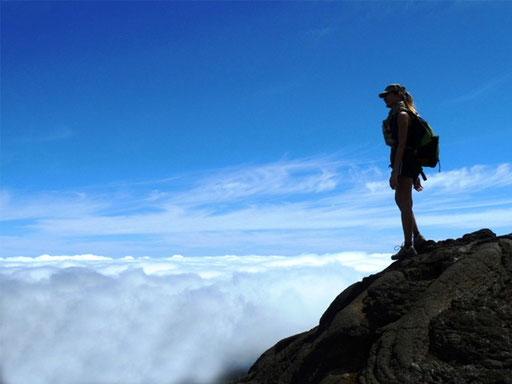 En haut du Piton de la Fournaise