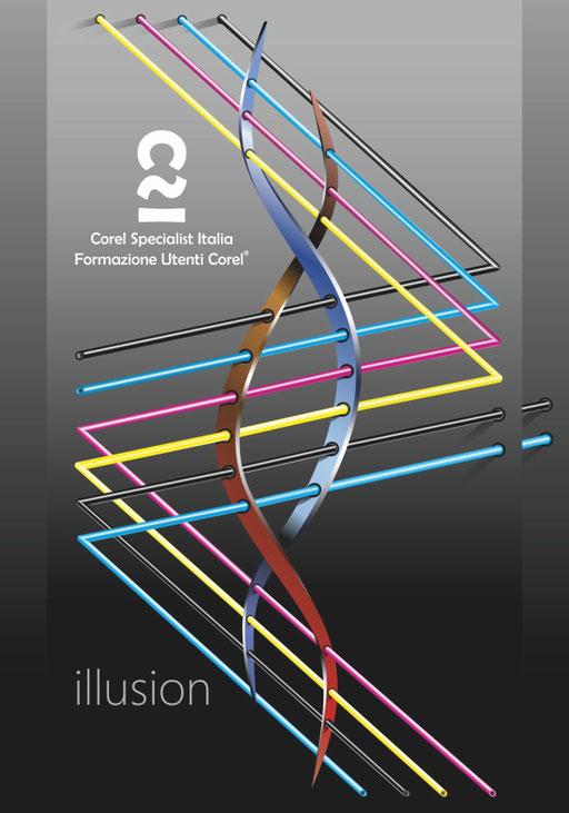 """Titolo: ILLUSION, illustrazione vettoriale F.to 70x100 cm - """"La Quadricromia è nel nostro DNA"""""""