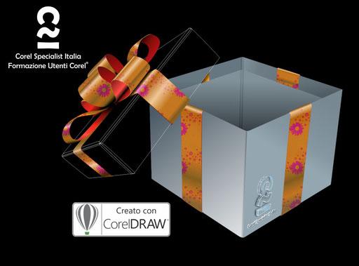 """Titolo:"""" La scatola delle sorprese"""" - Illustrazione vettoriale con riempimenti di colore con estensione *.FILL"""