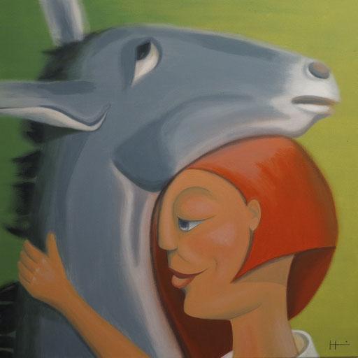 Esel, 60x60 cm