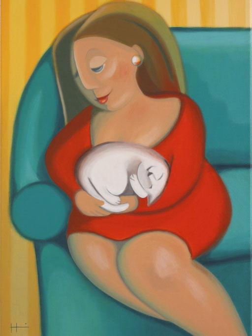 Die weiße Katze, 50x70 cm