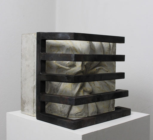 Christian Feig, Sehnsucht No. 1, 2014, Beton & Stahl, 31 x 33 x 33 cm