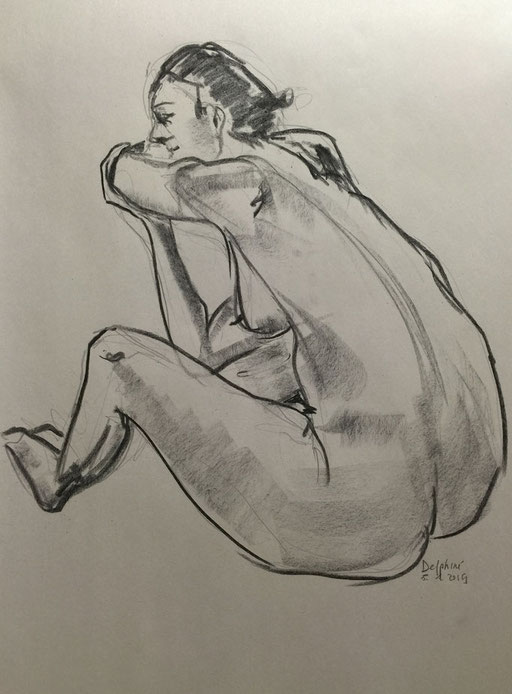 Delphine, Fusain, 60x80cm