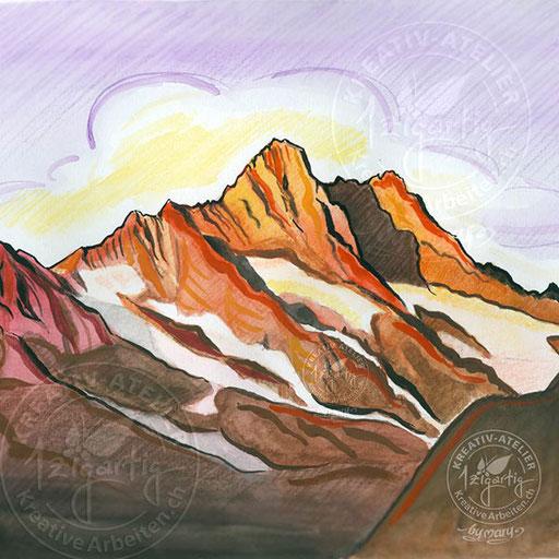 Bergmassiv Schreckhorn, gemalt mit Gouache auf Papier, www.kreativearbeiten.ch