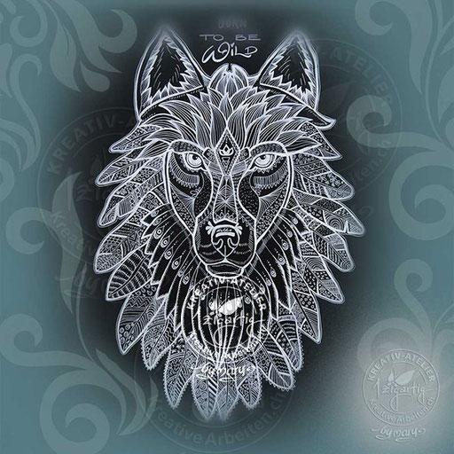 Gezeichneter Wolfskopf, endbearbeitet am iPad, www.kreativearbeiten.ch
