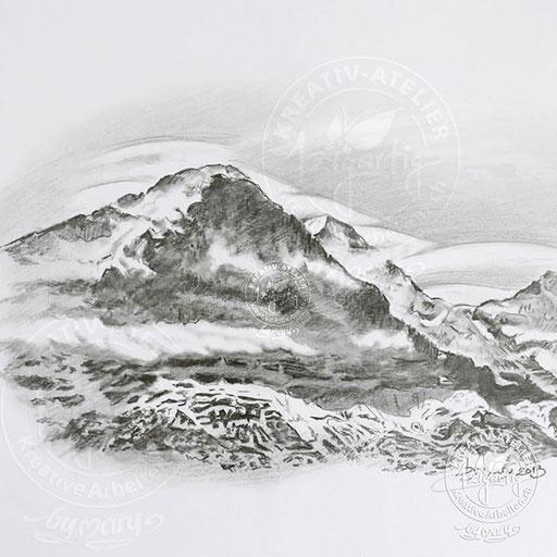 Bleistiftzeichnung vom Berg Eiger, www.kreativearbeiten.ch