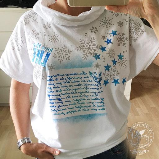 Selbstgenähtes und entworfenes T-Shirt - verziert mit Schablonen und Farben von GONIS, www.kreativearbeiten.ch