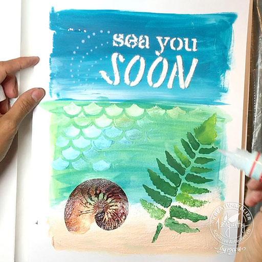 Sea you soon, Bild gemalt mit Farben von GONIS, www.kreativearbeiten.ch