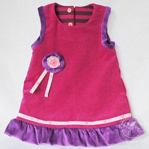 Selbstentworfenes und genähtes Kinderkleid, wendbar und beidseitig zu tragen, www.kreativearbeiten.ch
