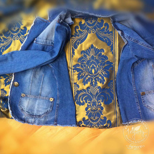 Jacke pimpen mit einem schönen Ornamentestoff am Rücken, www.kreativearbeiten.ch