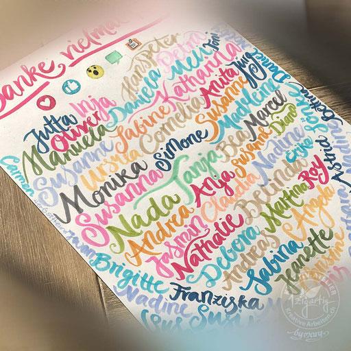 Handlettering mit verschiedenen Namen, www.kreativearbeiten.ch