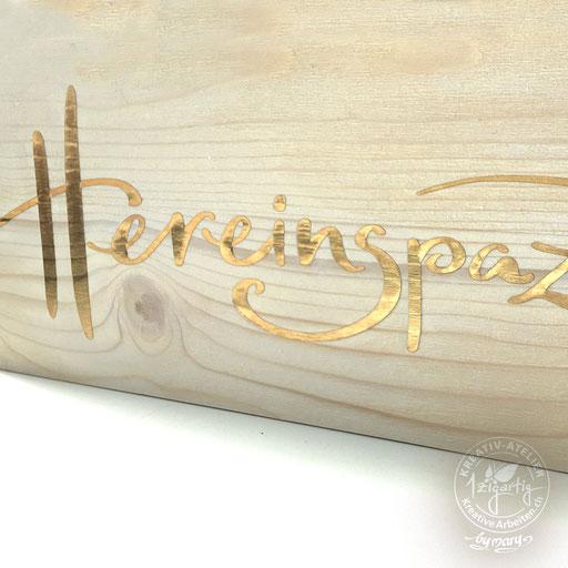 Handschrift auf Holzbrett, www.kreativearbeiten.ch