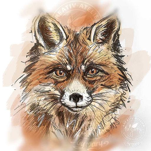 Gezeichneter Fuchs, coloriert am iPad, www.kreativearbeiten.ch
