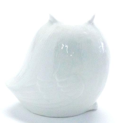 九谷焼【ホワイト横向き梟】2.8寸 裏書