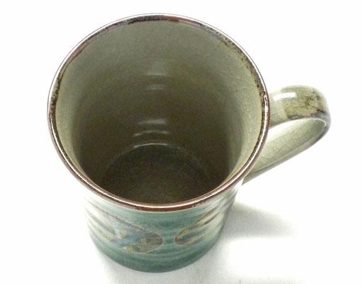 九谷焼【マグカップ】丸紋松竹梅緑塗り 裏絵