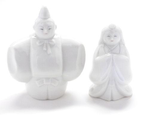 九谷焼『お雛様』ホワイト 立雛 4号 裏書 木箱台付
