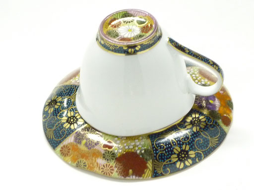九谷焼通販 おしゃれ ギフト カップ&ソーサー コーヒカップ コーヒー碗 青粒 金花詰