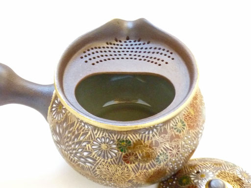 九谷焼通販 おしゃれな急須 茶器 萬古焼 至高急須 加賀のお殿様・お姫様キブン 裏絵 茶漉しの図