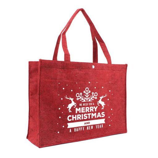 Weihnachtstragetaschen Filz mit Druckknopf und Weihnachtsmotiv in rot