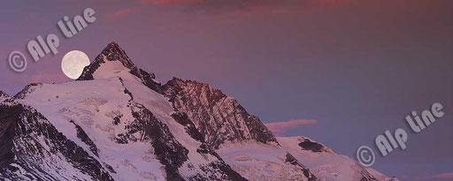 Vollmond über dem Großglockner, Nationalpark Hohe Tauern, Kärnten. Panoramafoto © Ofner