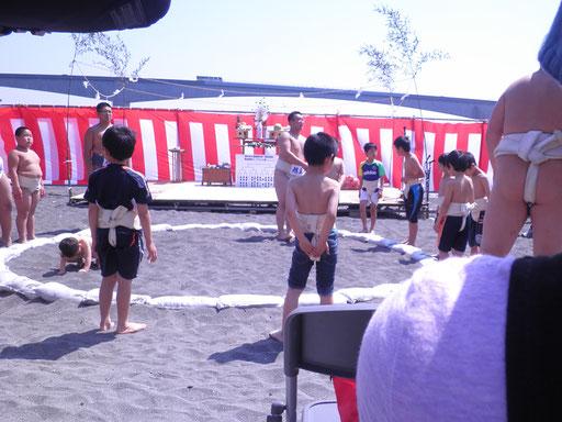 子ども相撲は、小学生がまわしを付けてもらい、トーナメント戦です。指導は小田原の旭丘高校相撲部のお兄さんたち。
