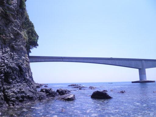 遠くに見えるのは真鶴道路の真鶴橋。絵になりますね。