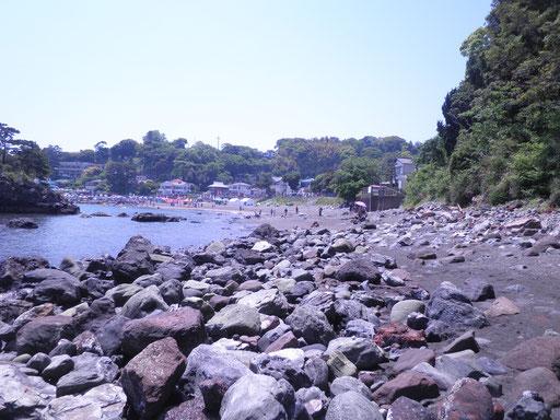 岩海岸は、源頼朝が石橋山の合戦に敗れ、再起を期して船出したところ。波穏やかな砂浜です。