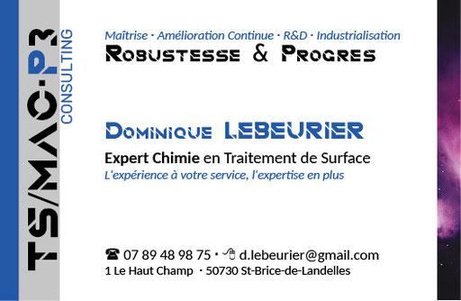 Carte de visite TS MAC P3 - Expert chimie en traitement de surfaces