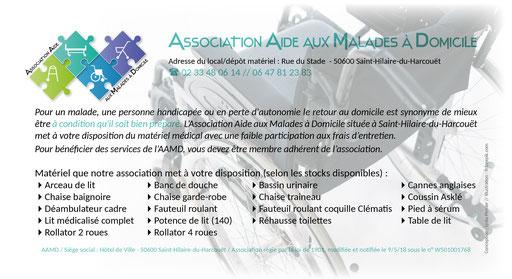 Logo, flyer et contrat de prêt pour association AAMD (St-Hilaire-du-Ht)