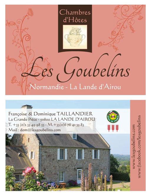 Carte de visite Chambres d'Hôtes Les Goubelins Villedieu les Poeles