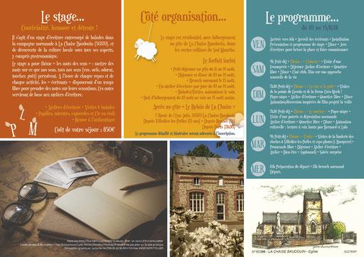 Dépliant 3 volets - Stage écriture en Normandie avec Passe Les Mots