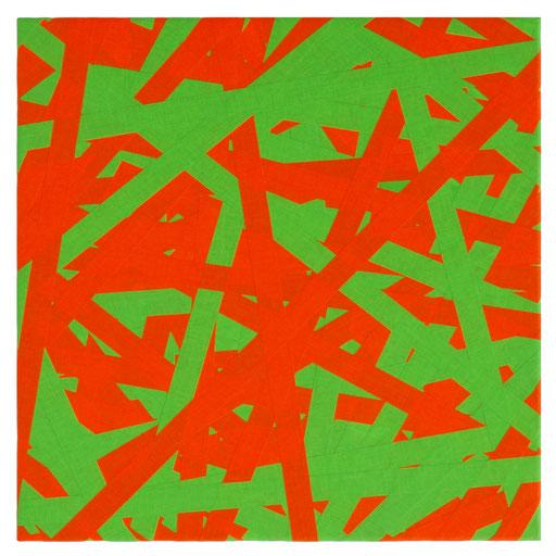 O.T. (ORANGE GRÜN), 2018 Markierungsband auf Leinwand, 50 x 50 cm
